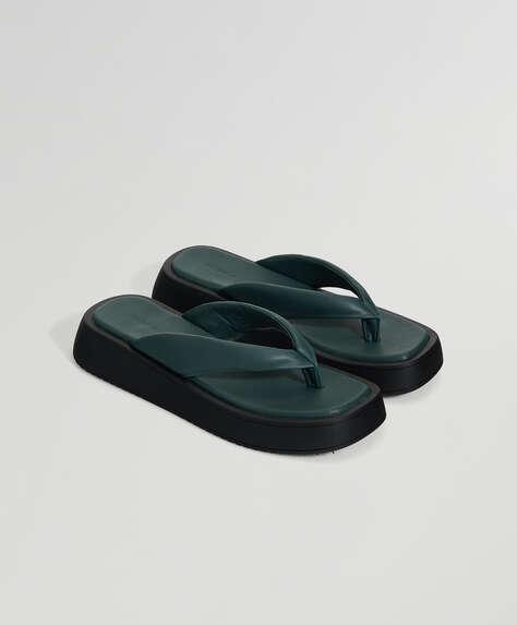 Green platform thong sandals