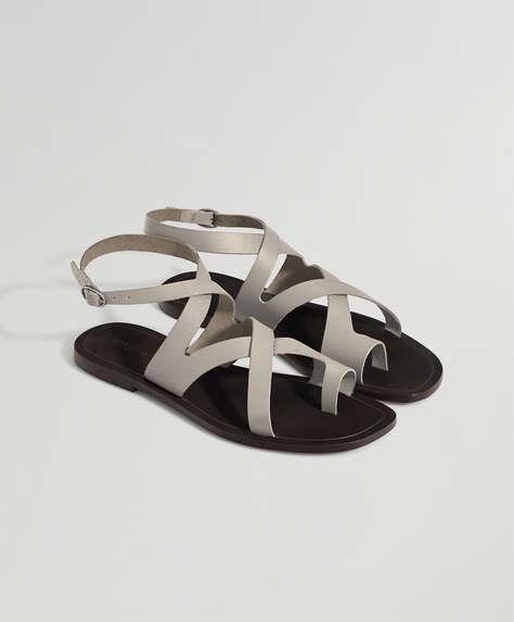 Sandales en cuir blanc cassé