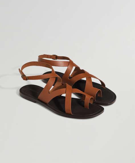 Sandales en cuir cognac