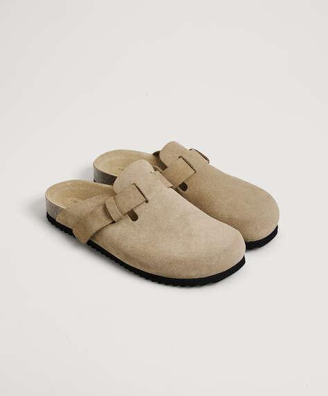 Split-leather slider slippers
