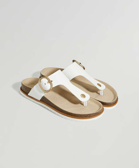 White buckle thong sandals