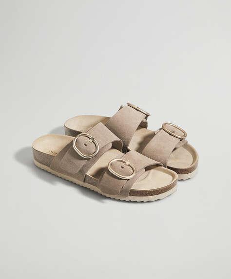 Buckle split-leather sandals