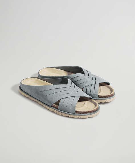 Split-leather crossover sandals