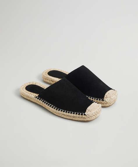 Split-leather undercut espadrilles