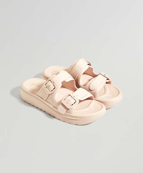 Nude buckle sandals
