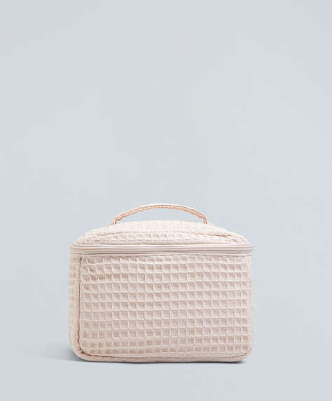 Quaderförmige Kulturtasche aus Waffel-Piqué