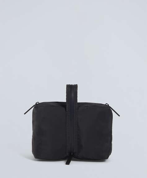 Black zip sports wash bag