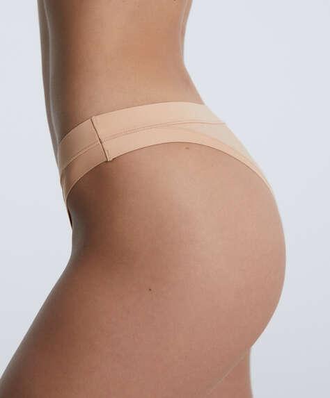 Plain microfibre Brazilian briefs. Stretch waist.