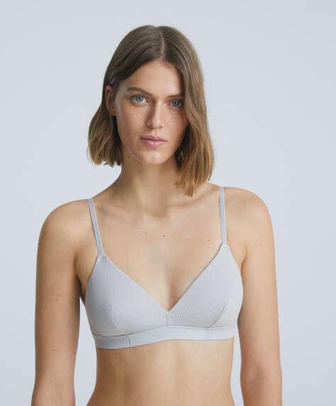 Rib modal and cotton triangle bra with logo