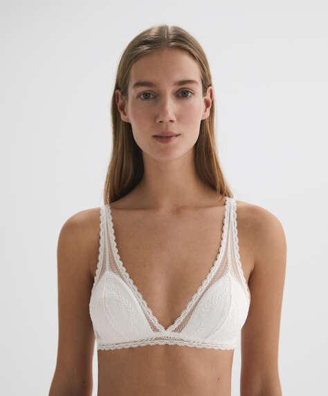 Lace halter-style bra
