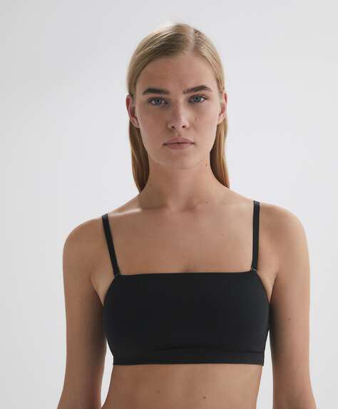 Cotton bra top with removable straps