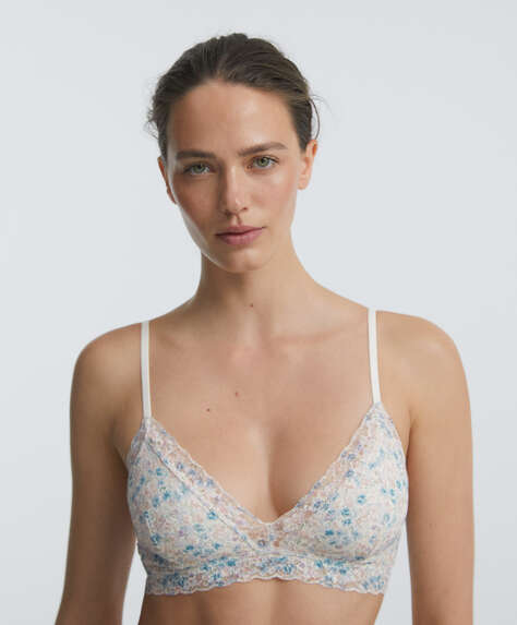 Floral lace bralette with removable cups