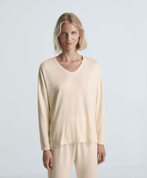 Soft touch long-sleeved star T-shirt