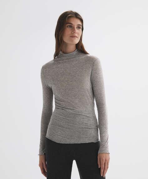 Long-sleeved semi-sheer T-shirt
