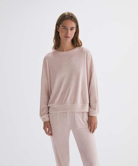 Print velour sweatshirt