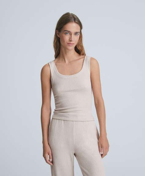 Comfort feel ribbed vest top