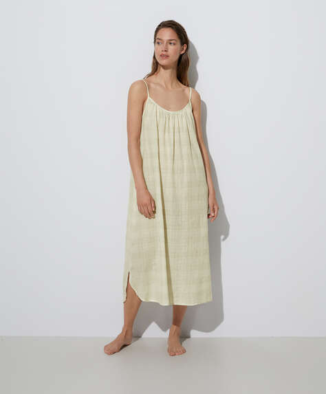 Textured checked 100% cotton nightdress