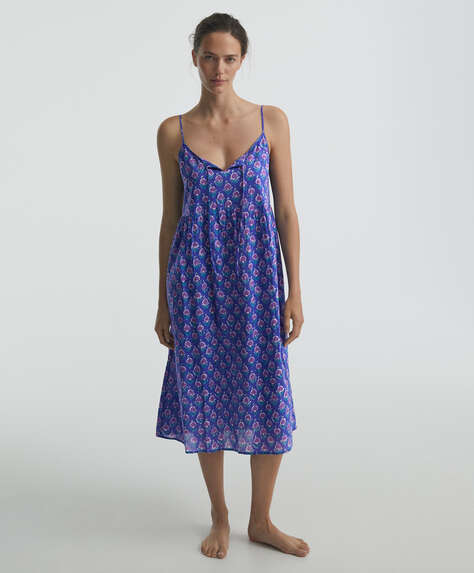 100% cotton Indian print long strappy nightdress