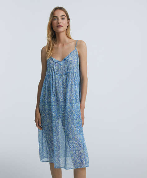 Long floral 100% cotton strappy nightdress
