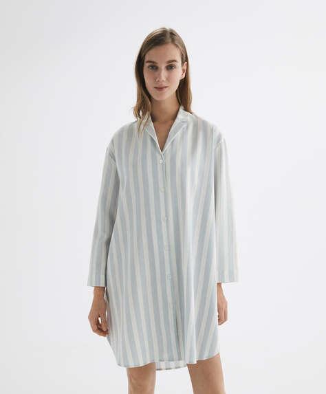Stripe 100% cotton midi nightdress