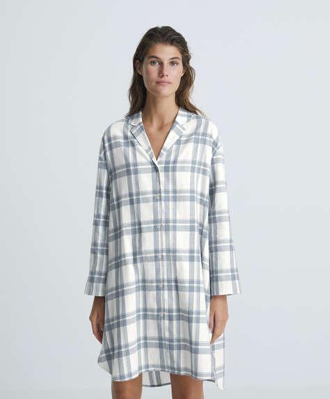 Check 100% cotton midi nightdress
