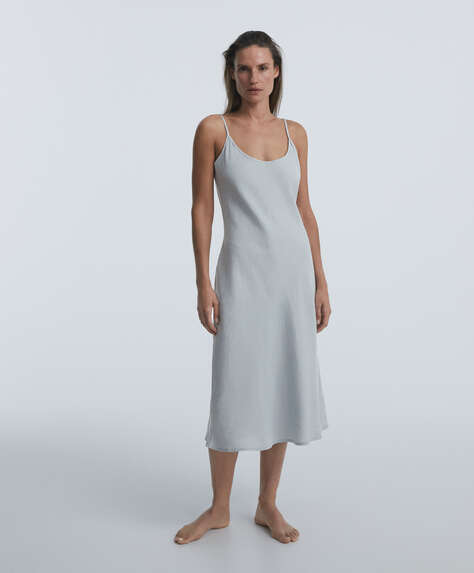 100% linen strappy midi nightdress