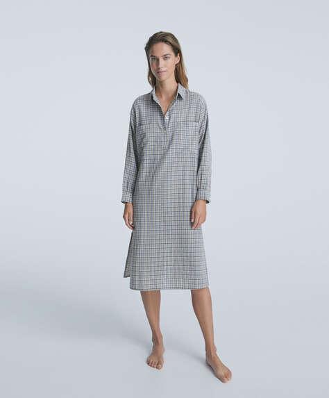 Double-face 100% cotton check midi nightdress