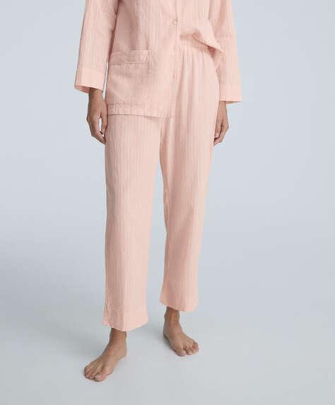 Textured stripe 100% cotton trousers