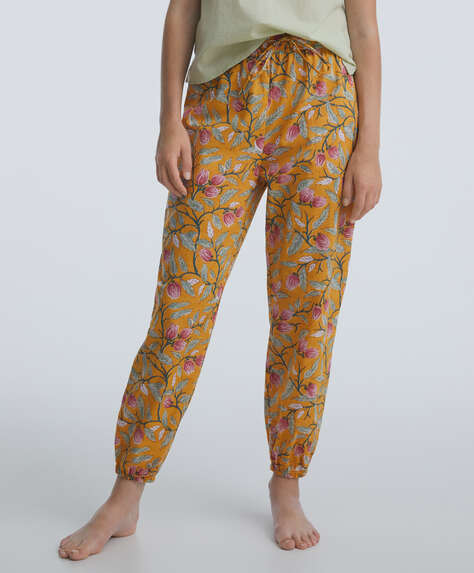 Indian floral 100% cotton cuffed trousers