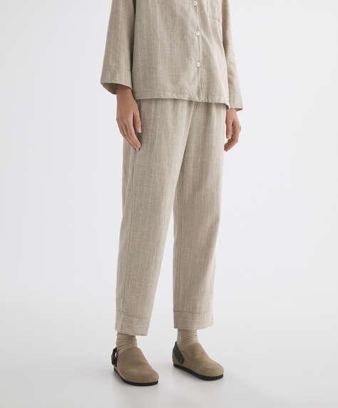 Pantalón largo 100% algodón rayas