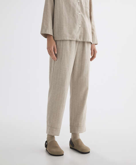 Striped 100% cotton trousers
