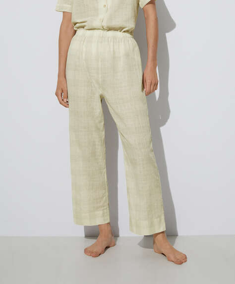 Textured checked 100% cotton trousers