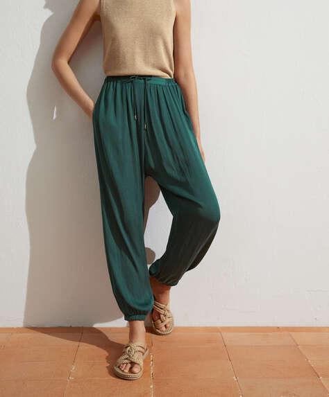 Satin harem trousers