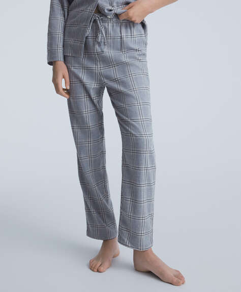 Check 100% cotton trousers