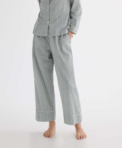 Floral print 100% cotton trousers