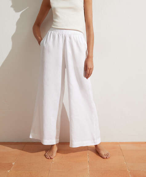 100% linen palazzo trousers