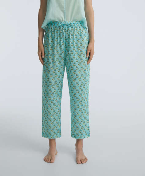 Indian stamp print 100% cotton trousers