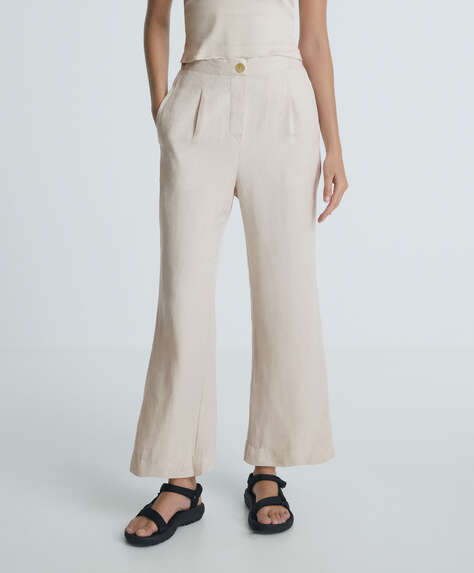 Linen flare trousers