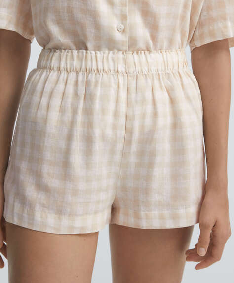 Gingham linen shorts