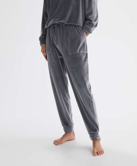 Print velour trousers