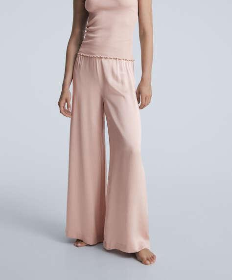 100% silk wide-leg trousers