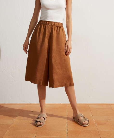 100% linen trouser skirt