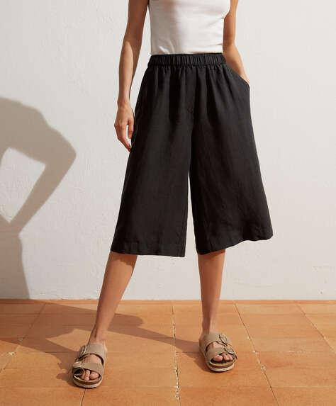 100% linen skirt-style culotte