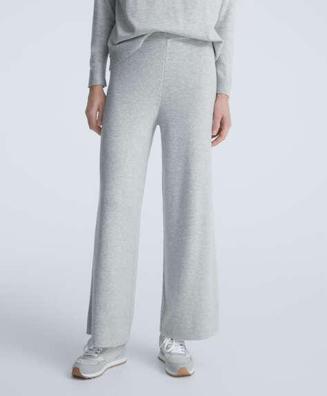 Wide-leg fine-knit trousers