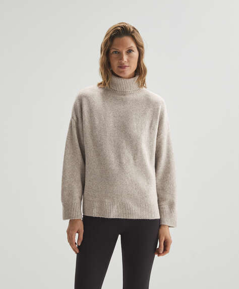 Knit polo neck jumper