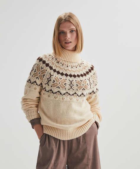 Jacquard polo neck jumper
