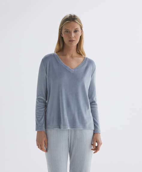 Soft touch long-sleeved velour T-shirt