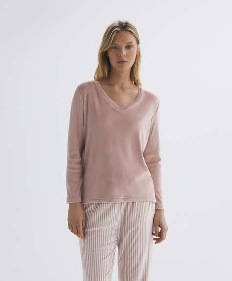 Soft touch velour long-sleeved T-shirt