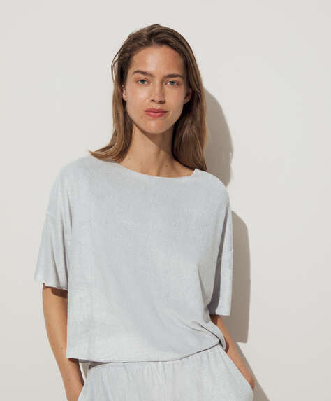 Short-sleeved soft towelling T-shirt