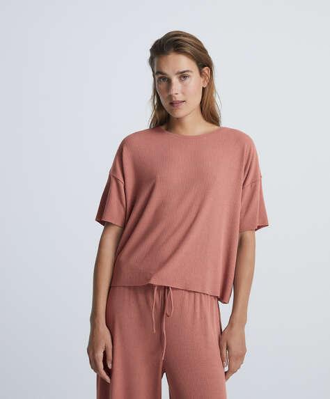 Comfort rib short-sleeved T-shirt